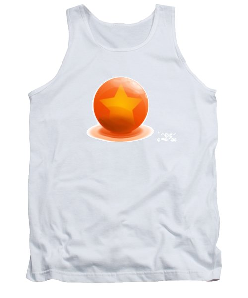 Tank Top featuring the sculpture orange Ball decorated with star white background by R Muirhead Art