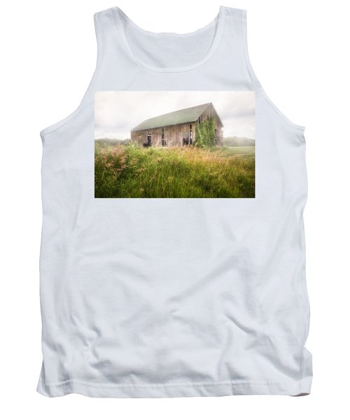 Tank Top featuring the photograph Barn In A Misty Field by Gary Heller