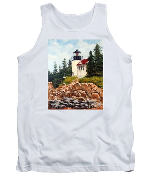 Tank Top featuring the painting Bass Harbor Head Light by Lee Piper