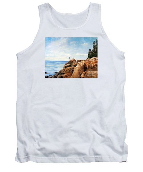 Tank Top featuring the painting Bass Harbor Rocks by Lee Piper