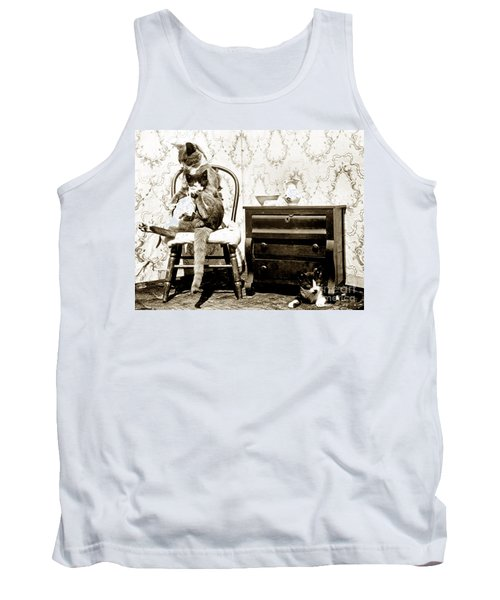 Tank Top featuring the photograph Bath Time For Kitty Circa 1900 Historical Photos by California Views Mr Pat Hathaway Archives