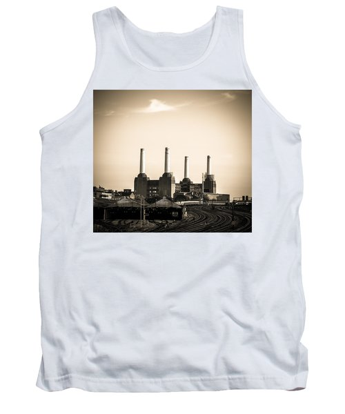Battersea Power Station With Train Tracks Tank Top