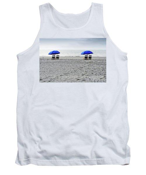 Beach Umbrellas On A Cloudy Day Tank Top