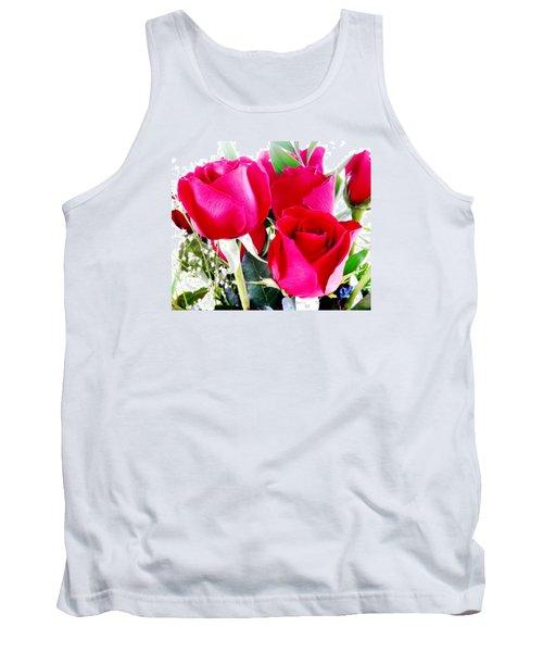 Beautiful Neon Red Roses Tank Top by Belinda Lee