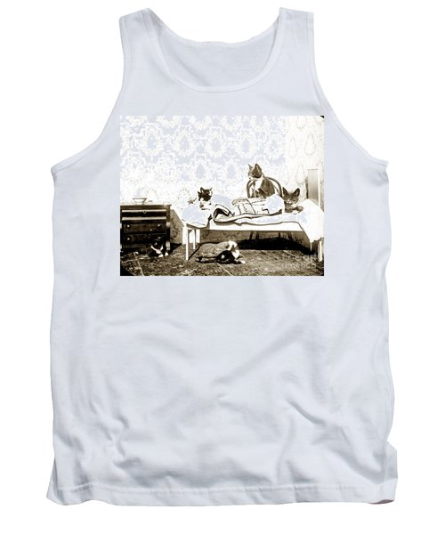 Tank Top featuring the photograph Bed Time For Kitty Cats Histrica Photo Circa 1900 by California Views Mr Pat Hathaway Archives