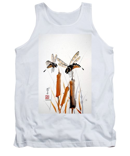 Tank Top featuring the painting Bee-ing Present by Bill Searle