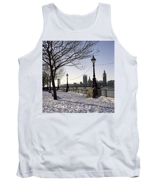Big Ben Westminster Abbey And Houses Of Parliament In The Snow Tank Top