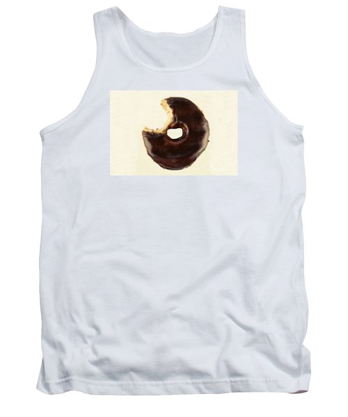 Tank Top featuring the photograph Chocolate Donut With Missing Bite by Vizual Studio