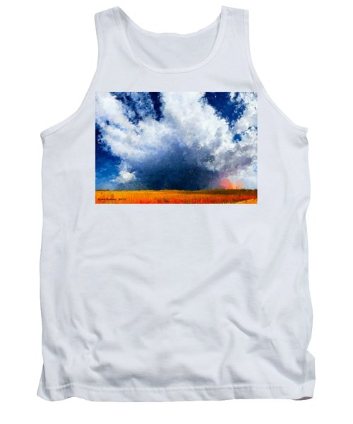 Tank Top featuring the painting Big Cloud In A Field by Bruce Nutting