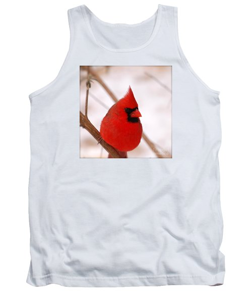 Tank Top featuring the photograph Big Red  Cardinal Bird In Snow by Peggy Franz