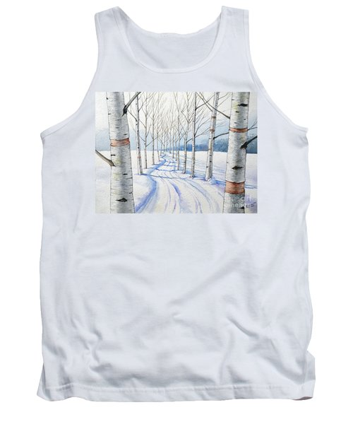 Tank Top featuring the painting Birch Trees Along The Curvy Road by Christopher Shellhammer