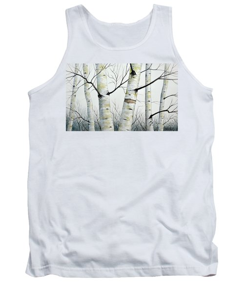Tank Top featuring the painting Birch Trees In The Forest In Watercolor by Christopher Shellhammer