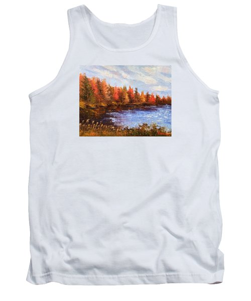 Tank Top featuring the painting Birchwood Lake by Jason Williamson