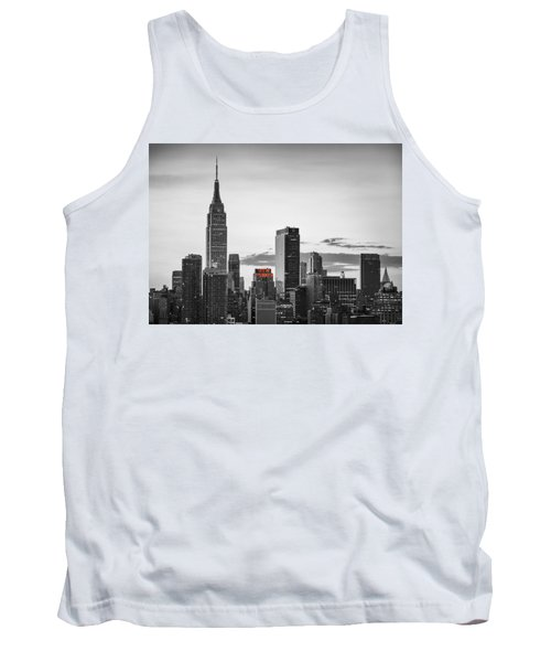Black And White Version Of The New York City Skyline With Empire Tank Top by Eduard Moldoveanu