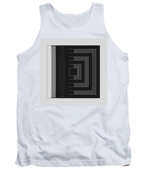 Tank Top featuring the digital art Black White Gray Square Geometric by Judi Suni Hall