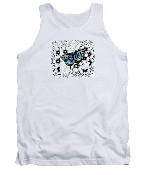 Blue Butterfly Tank Top by Billinda Brandli DeVillez
