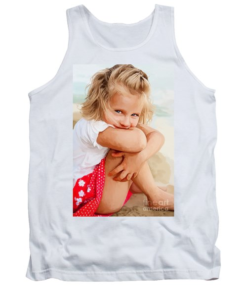 Tank Top featuring the painting Blue Eyed Girl by Tim Gilliland