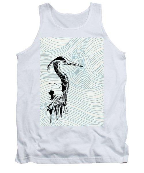 Blue Heron On Waves Tank Top
