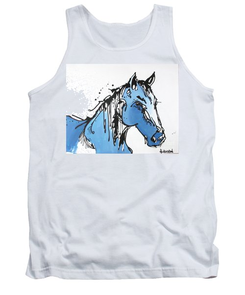 Tank Top featuring the painting Blue by Nicole Gaitan