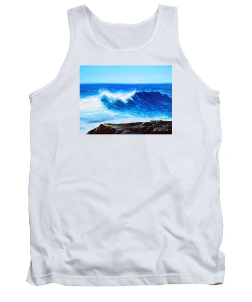 Tank Top featuring the painting Blue by Vesna Martinjak