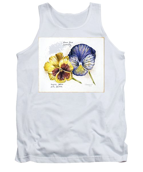 Blue Yellow Pansies Tank Top by Katharina Filus