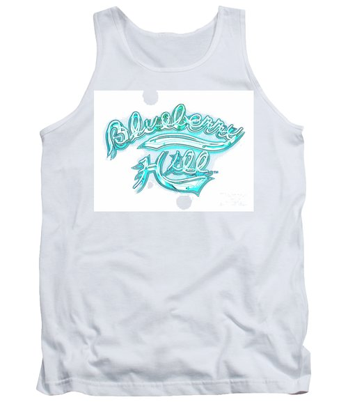 Blueberry Hill Inverted In Neon Blue Tank Top