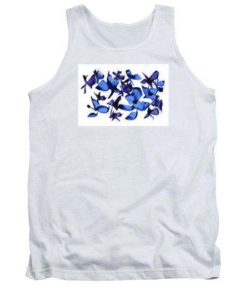 Tank Top featuring the mixed media Blues And Violets by Frank Bright