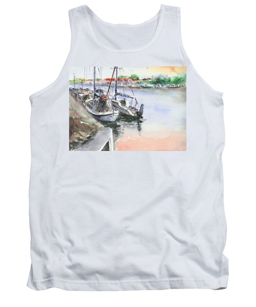 Tank Top featuring the painting Boats Inshore by Faruk Koksal