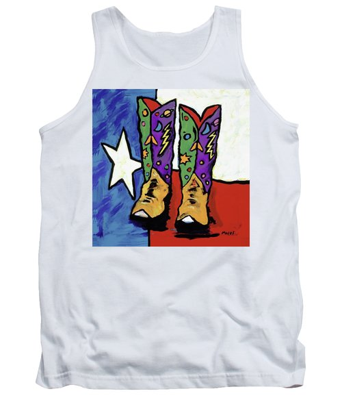 Boots On A Texas Flag Tank Top