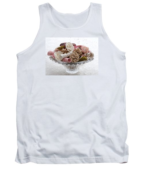 Bowl Of Potpourri On Lace Tank Top by Connie Fox
