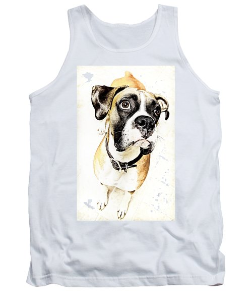 Tank Top featuring the photograph Boxer Dog Poster by Peter v Quenter