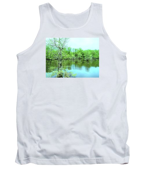 Bright Green Mill Pond Reflections Tank Top