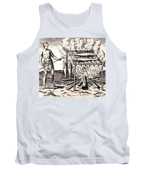 Tank Top featuring the drawing Broylinge Their Fish Over The Flame by Peter Gumaer Ogden