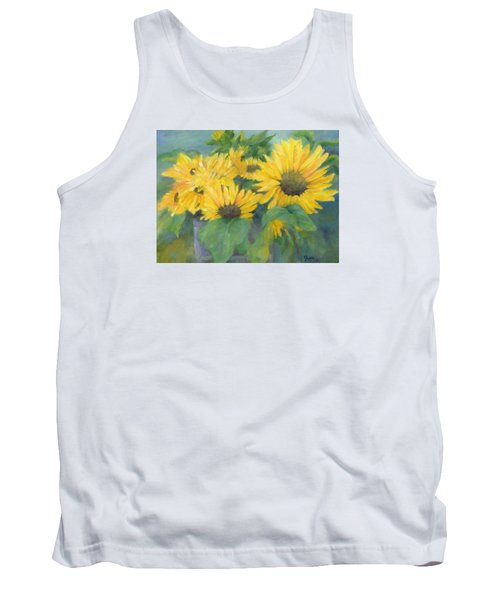 Bucket Of Sunflowers Colorful Original Painting Sunflowers Sunflower Art K. Joann Russell Artist Tank Top