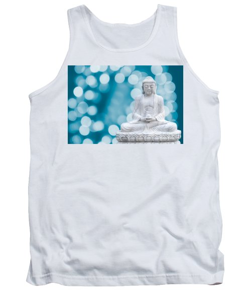 Buddha Enlightenment Blue Tank Top by Hannes Cmarits