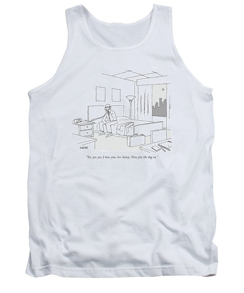 Businessman Sitting On A Bed In Hotel Room Tank Top by Jack Ziegler