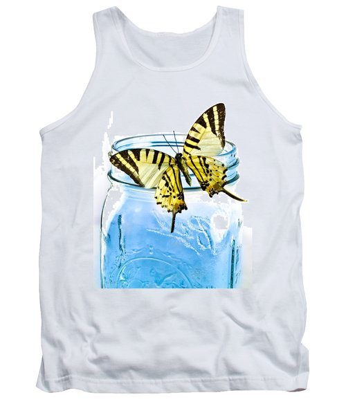 Butterfly On A Blue Jar Tank Top