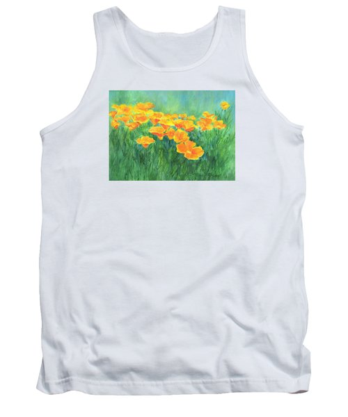 California Golden Poppies Field Bright Colorful Landscape Painting Flowers Floral K. Joann Russell Tank Top