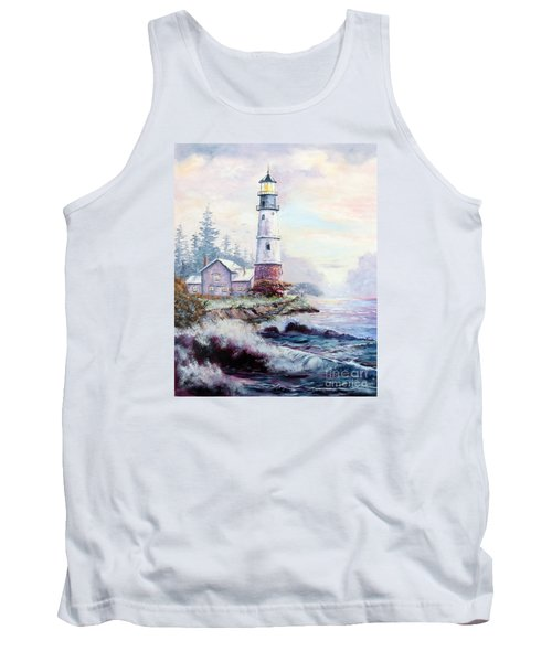 Tank Top featuring the painting California Lighthouse by Lee Piper