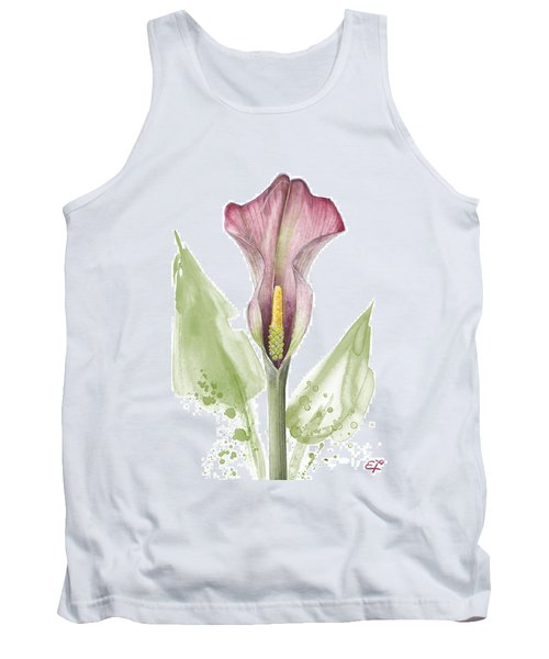Tank Top featuring the painting Calla Lily 01 - Elena Yakubovich by Elena Yakubovich