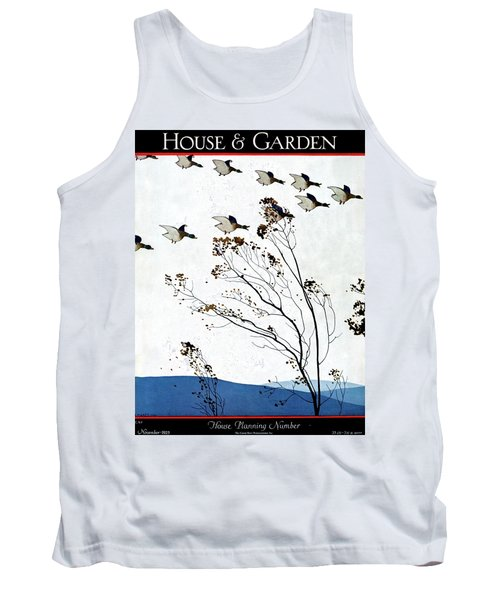 Canadian Geese Over Brown-leafed Trees Tank Top