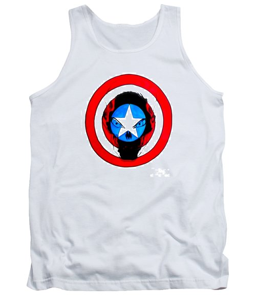 Tank Top featuring the drawing Captain America And Red Skull by Justin Moore