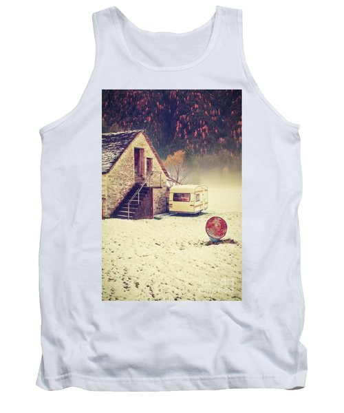 Caravan In The Snow With House And Wood Tank Top