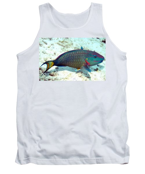 Caribbean Stoplight Parrot Fish In Rainbow Colors Tank Top by Amy McDaniel