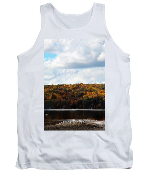Tank Top featuring the photograph Cayuga Lake In Colorful Fall Ithaca New York  by Paul Ge