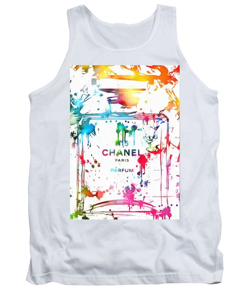 Tank Top featuring the painting Chanel Number Five Paint Splatter by Dan Sproul