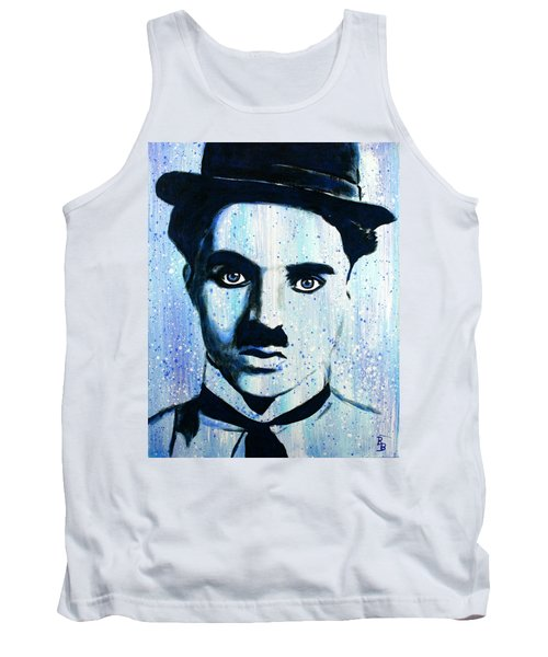 Tank Top featuring the painting Charlie Chaplin Little Tramp Portrait by Bob Baker