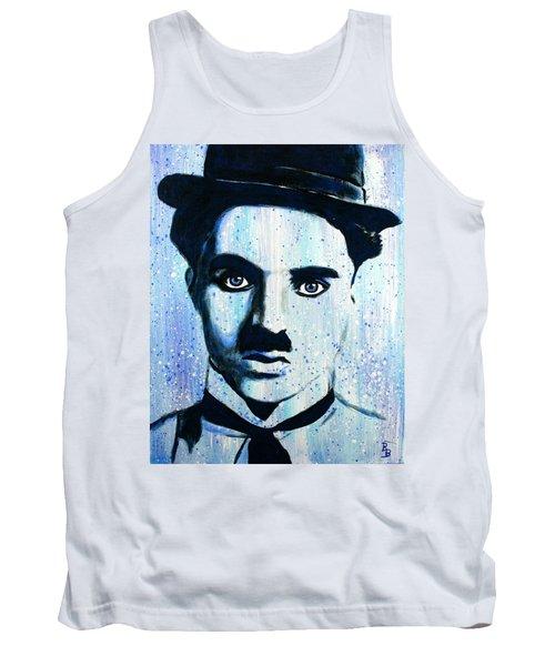 Charlie Chaplin Little Tramp Portrait Tank Top by Bob Baker