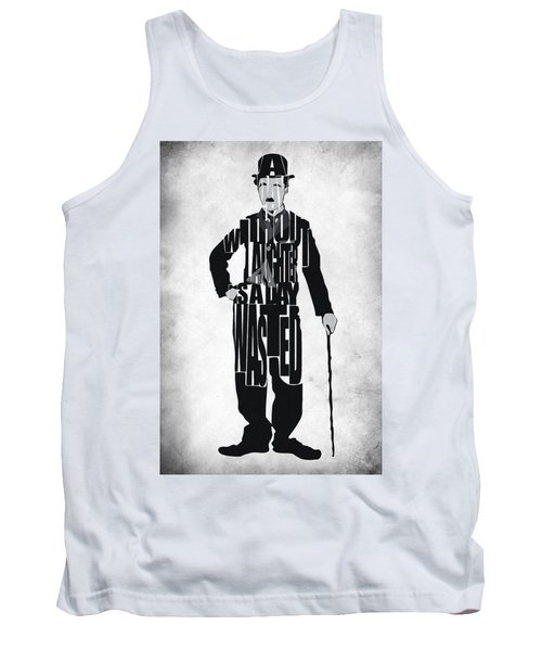 Charlie Chaplin Typography Poster Tank Top by Ayse Deniz