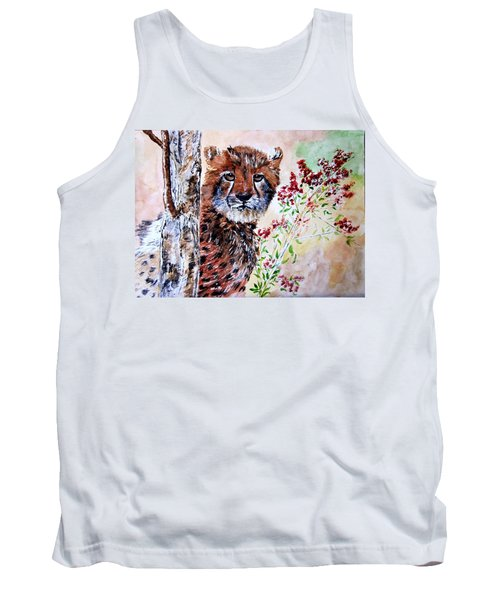 Cheetah Behind A Tree Tank Top